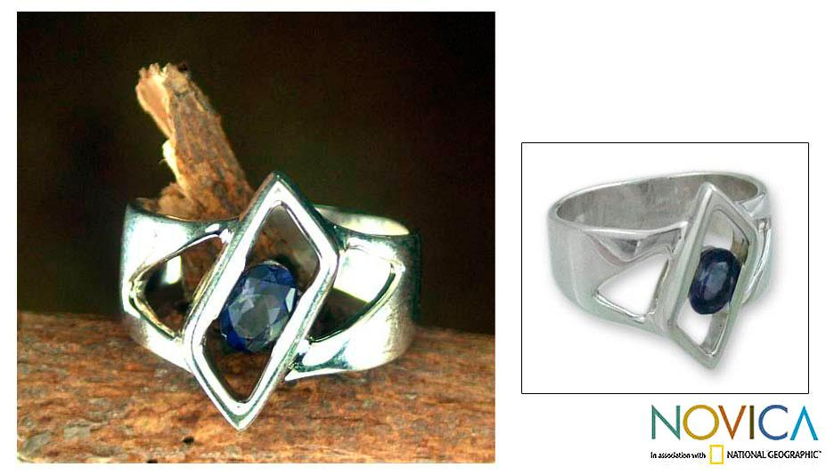 Handmade Sterling Silver 'In Balance' Iolite Solitaire Ring (India)