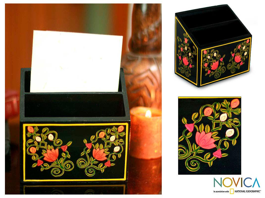 Handmade Wood 'Mughal Bouquet' Letter Box (India)
