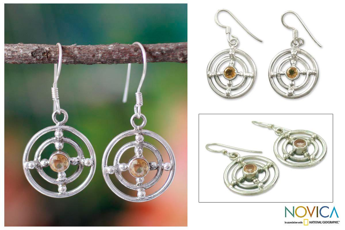 Handmade Sterling Silver 'Concentric Galaxy' Citrine Earrings (India)