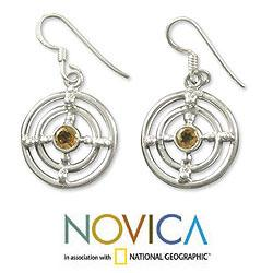 Handmade Sterling Silver 'Concentric Galaxy' Citrine Earrings (India) - Thumbnail 1