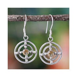 Sterling Silver 'Concentric Galaxy' Citrine Earrings (India)