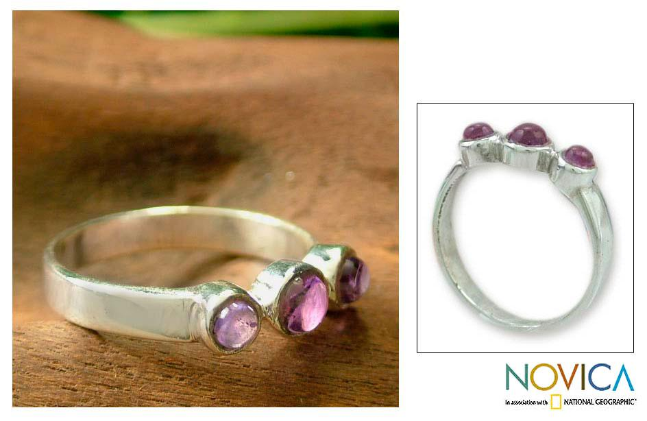 Handmade Sterling Silver 'Enchantment' Amethyst Ring (India)