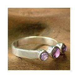 Handmade Sterling Silver 'Enchantment' Amethyst Ring (India)