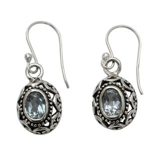 Handmade Sterling Silver 'Art of India' Blue Topaz Dangle Earrings (India)