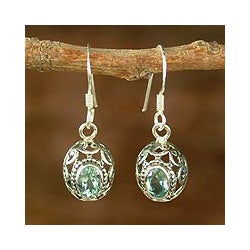 Sterling Silver 'Art of India' Blue Topaz Dangle Earrings (India)