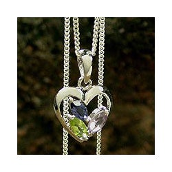 Sterling Silver 'All of Us' Multi-gemstone Necklace (India)