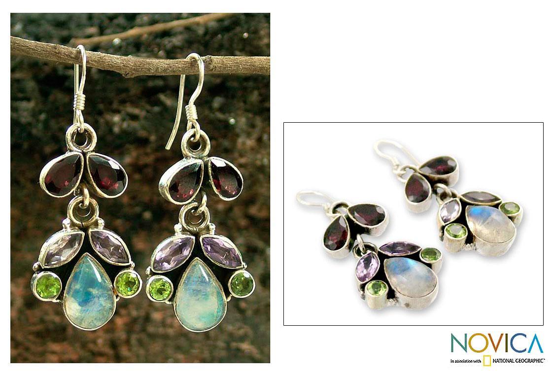 Handmade Sterling Silver 'Indian Rainbow' Multi-gemstone Earrings (India)