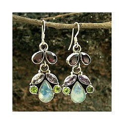 Handmade Sterling Silver 'Indian Rainbow' Multi-gemstone Earrings (India)