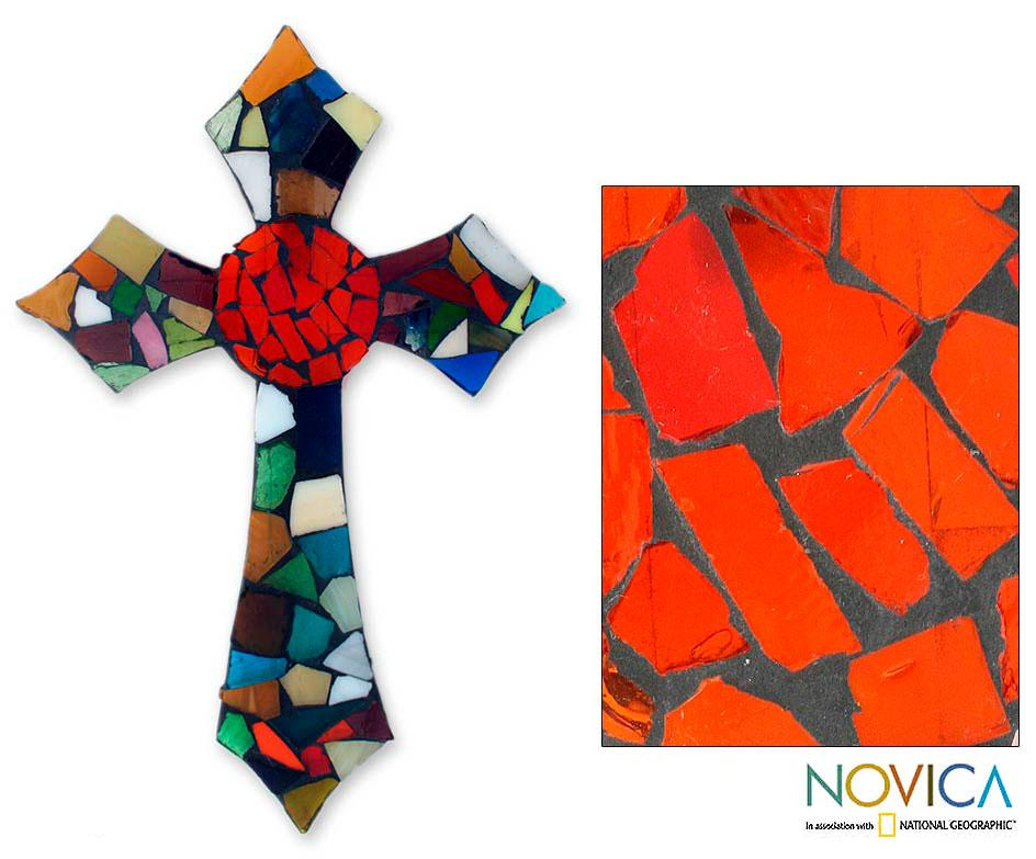 Stained Glass 'Fire of Faith' Wall Cross (Mexico)