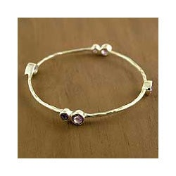 Handmade Sterling Silver 'Tango' Amethyst Bangle Bracelet (India)