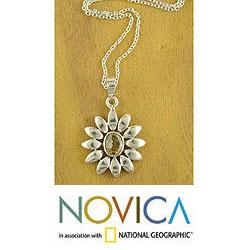 Handmade Sterling Silver 'Indian Sunflower' Citrine Necklace (India)