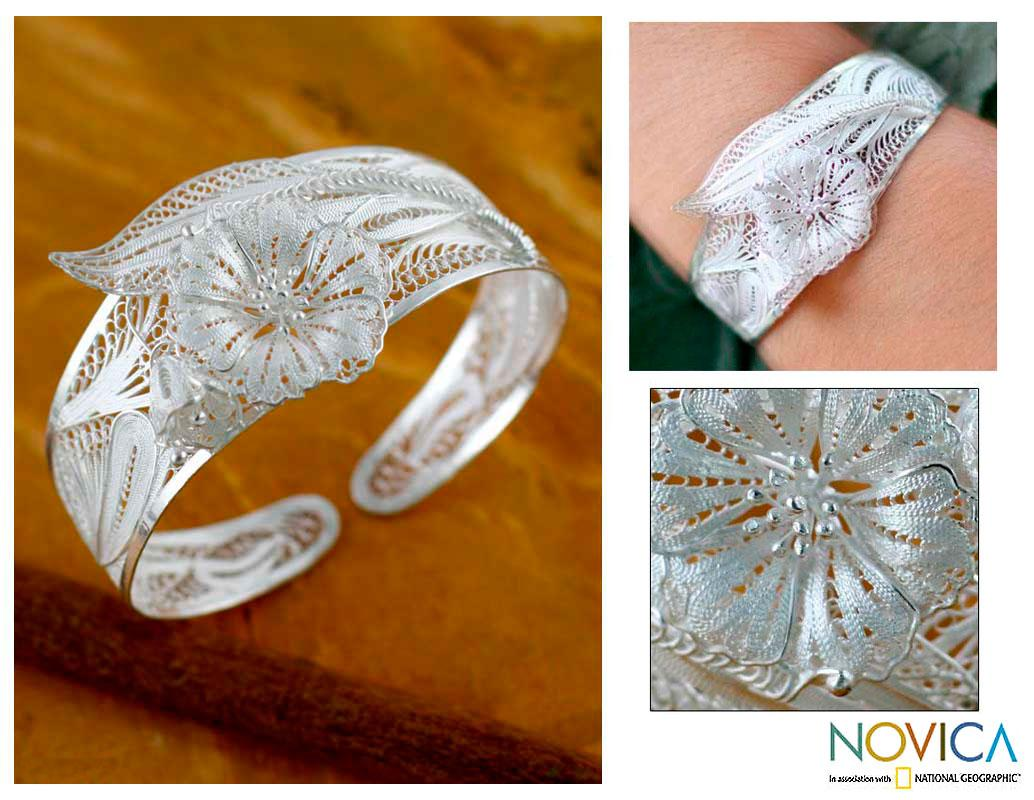 Sterling Silver 'Jasmine Perfection' Cuff Bracelet (Indonesia)