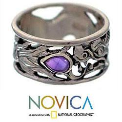 Sterling Silver Men's 'Dragon Guardian' Amethyst Ring (Indonesia) - Thumbnail 1