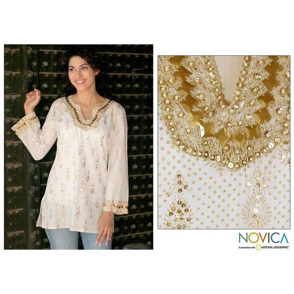 Handmade Golden Glamour Cotton White with Gold Block Print Embroidery Womens Tunic (India)