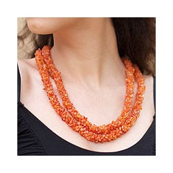 Handmade Carnelian 'Sunset Fire' Long Beaded Necklace (India)