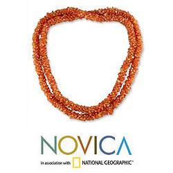 Handmade Carnelian 'Sunset Fire' Long Beaded Necklace (India)