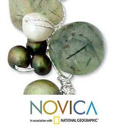 Silver 'Green Apple' Multi-gemstone Pearl Necklace (5-8 mm) (Thailand)