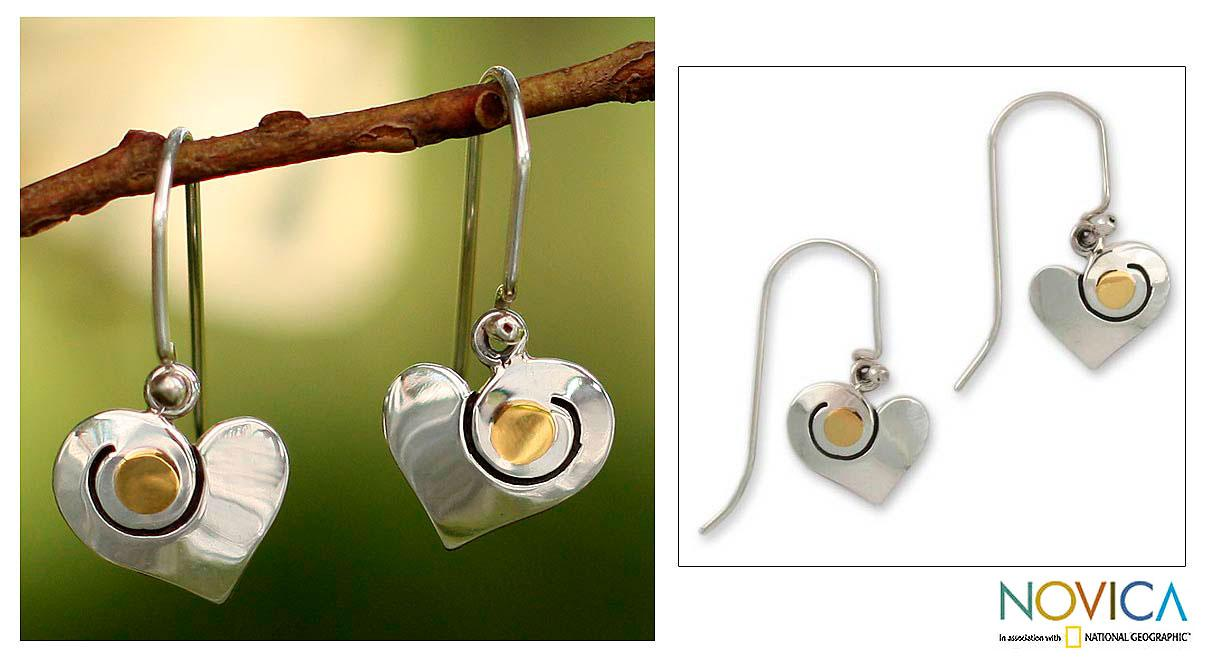 Handmade Sterling Silver 'Sunny Heart' Gold Overlay Heart Earrings (Mexico)