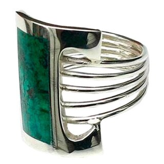 Handmade Sterling Silver 'Imagination' Chrysocolla Cocktail Ring (Peru)