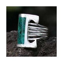 Handmade Sterling Silver 'Imagination' Chrysocolla Cocktail Ring (Peru)