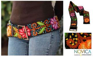 Black Night Bouquet Artisan Designer Women's Fashion Handmade Black Red Green Orange Purple Yellow Wool Leather Trim Belt (Peru)