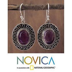 Handmade Sterling Silver 'Purple Star of India' Amethyst Earrings (India)