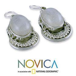 Handmade Sterling Silver 'Rainbow Ice' Moonstone Earrings (India)