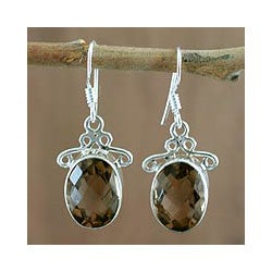 Handmade Sterling Silver 'At Twilight' Smoky Quartz Earrings (India)