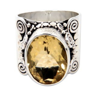 Majestic Handmade Artisan Fashion Accessory Sterling Silver Bezel-Cut Yellow Oval Citrine Gemstone J