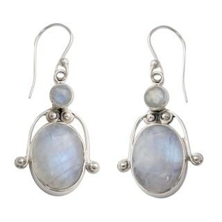 Handmade Sterling Silver 'Indian Goddess' Moonstone Earrings (India)