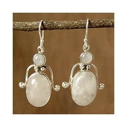 Sterling Silver 'Indian Goddess' Moonstone Earrings (India)