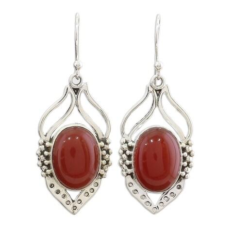 Handmade Sterling Silver 'Passion Leaf' Carnelian Earrings (India)