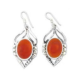 Sterling Silver 'Passion Leaf' Carnelian Earrings (India)