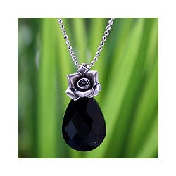 Sterling Silver 'Rose Lover' Onyx Flower Necklace (Thailand)