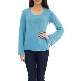 Sky Blue Charisma Artisan Handmade Fashion Women's Clothing Natural Fiber Alpaca Wool Bell Sleeve Rolled Hem Sweater (Peru)