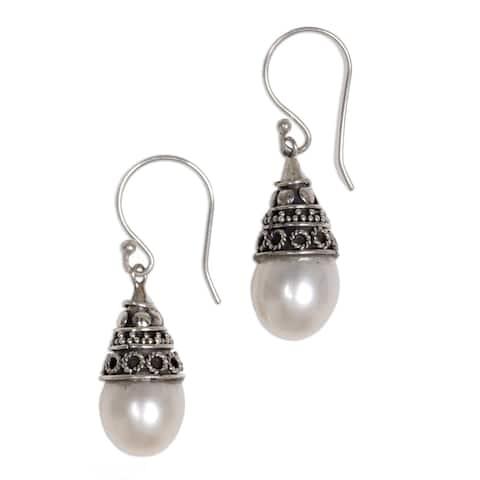 NOVICA Handmade Sterling Silver 'Mystic Bells' Pearl Earrings (10.5 mm) (Indonesia)