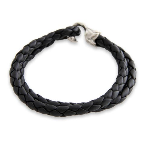 Handmade Warrior Sterling Silver Leather Bracelet (Indonesia)