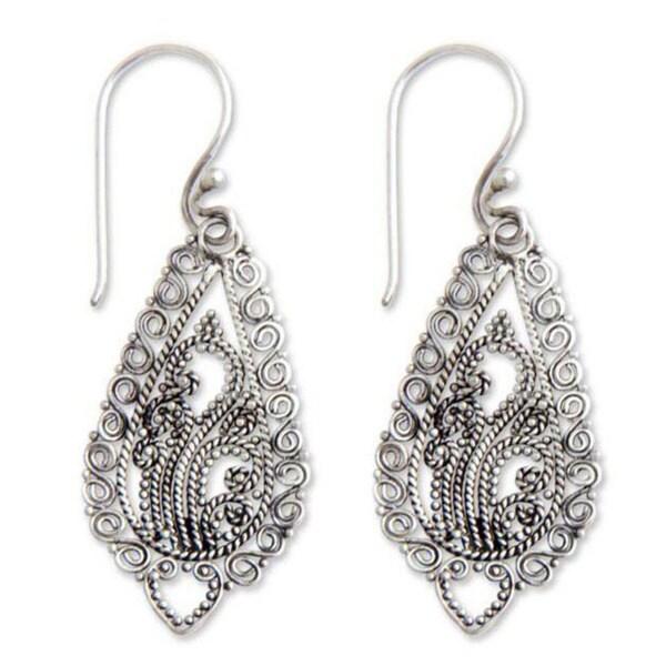 Handmade Sterling Silver 'Fern Flowers' Earrings (Indonesia)