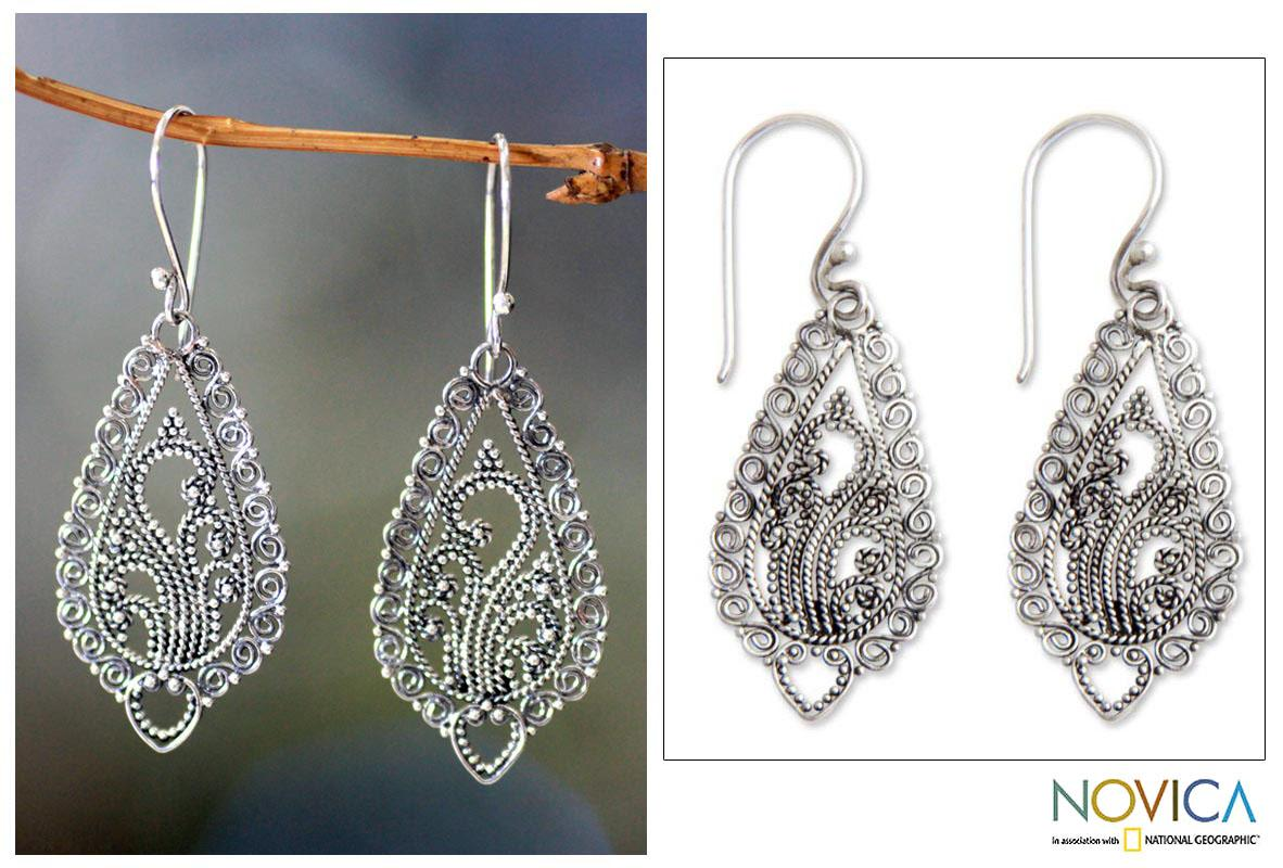 Handmade Sterling Silver 'Fern Flowers' Earrings (Indonesia)