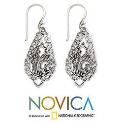 Handmade Sterling Silver 'Fern Flowers' Earrings (Indonesia) - Thumbnail 1