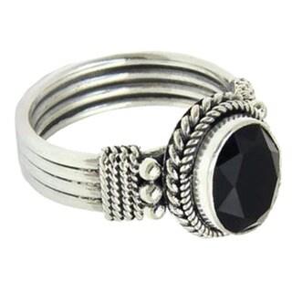 Handmade Sterling Silver 'Bali Glow' Onyx Ring (Indonesia)