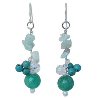Handmade Sterling Silver 'Morning Skies' Multi-gemstone Earrings (Thailand)