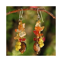Handmade Sterling Silver 'Thai Autumn' Multi-gemstone Earrings (Thailand)