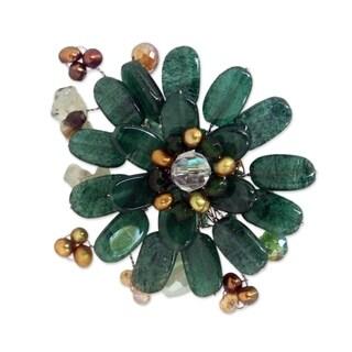 Handmade Stainless Steel 'Jungle' Multi-gemstone Pearl Brooch (4 mm) (Thailand)