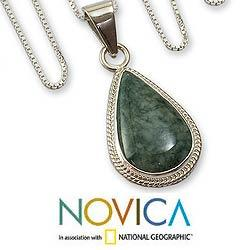 Sterling Silver 'Green Sacred Quetzal' Jade Necklace (Guatemala)