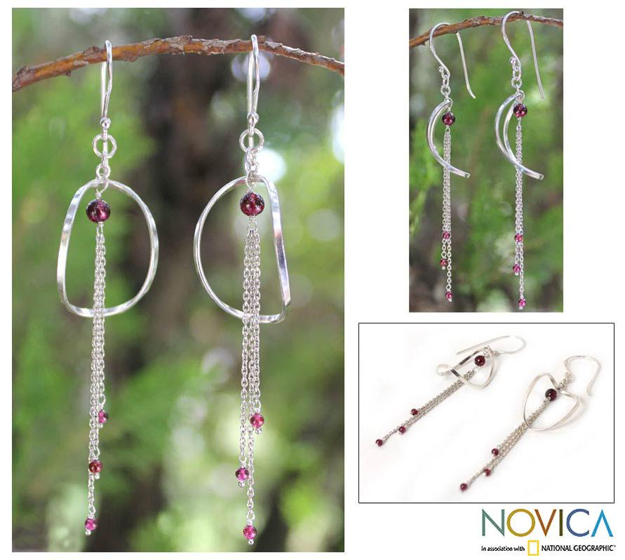Sterling Silver 'Crescent Moon Love' Garnet Earrings (Thailand)