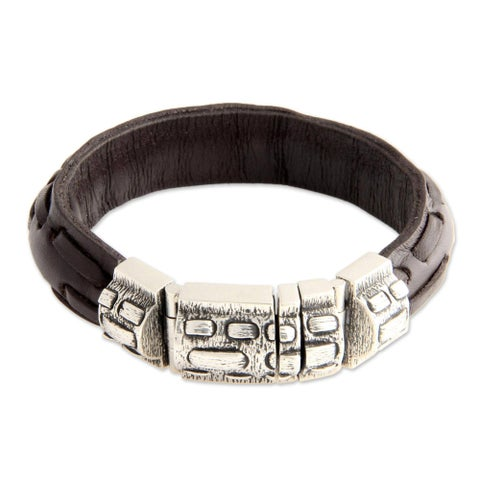 Handmade Sterling Silver Men's 'Woodsman' Leather Bracelet (Indonesia)