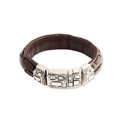 Sterling Silver Men's 'Woodsman' Leather Bracelet (Indonesia)
