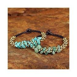 Set of 2 Calcite 'Lilac Green Orchids' Quartz Bracelets(Thailand)