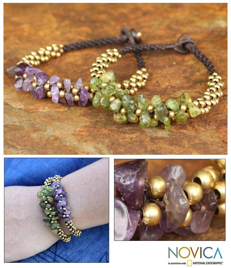 Set of 2 Amethyst 'Lilac Green Orchids' Peridot  Bracelets (Thailand)